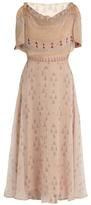 Valentino Boat-neck geometric-print silk-chiffon midi dress
