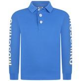 Moschino MoschinoBoys Blue Logo Sleeve Polo Shirt