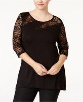 Belldini Plus Size Lace-Trim Top
