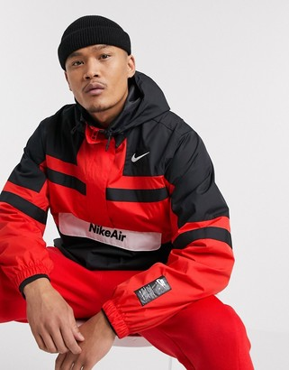 Nike half-zip overhead woven jacket in red/black