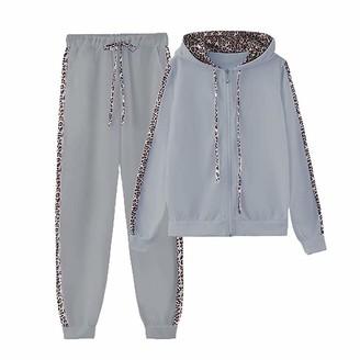 GYUANLAI Women's Tracksuits Sets Leopard Print Sportswear Set 2 PCS Sports Suit Soft Elastic Quick Drying Female Streetwear Long Sleeve Zipper Hoodie + High Waist Drawstring Sweatpants(Grey XL)