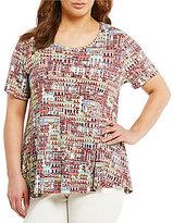 Multiples Plus Short Sleeve Hi-Low Printed Knit Top