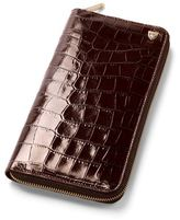 Aspinal of London Croc Zipped Travel Wallet