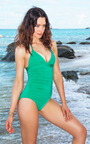 Voda Swim Kelly Green Envy Push Up Shirred One Piece