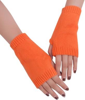 Huyuri Women Girl Knitted Arm Fingerless Warm Winter Gloves Soft Warm Mitten