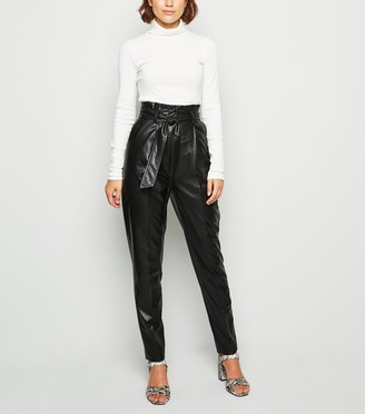 New Look Tall Leather-Look High Waist Trousers