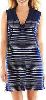 JCPenney Wearabouts Striped Tunic Hoodie Cover-Up