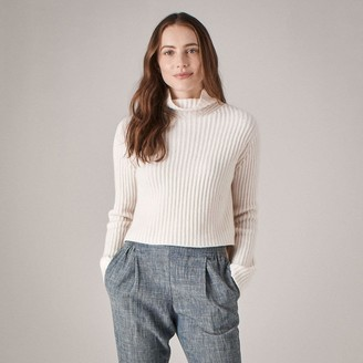 Naadam Cropped Wool Cashmere Turtleneck White