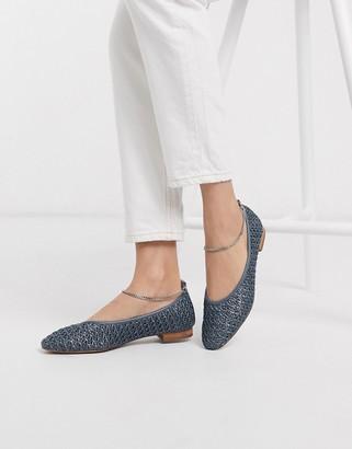 ASOS DESIGN Lemonade anklet ballet flats in blue