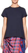 Sacai Short-Sleeve T-Shirt w/Plaid Back