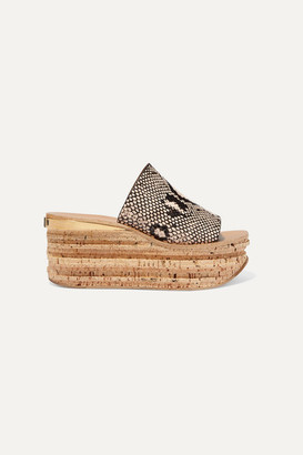 Chloé Camille Snake-effect Leather Wedge Sandals - Snake print