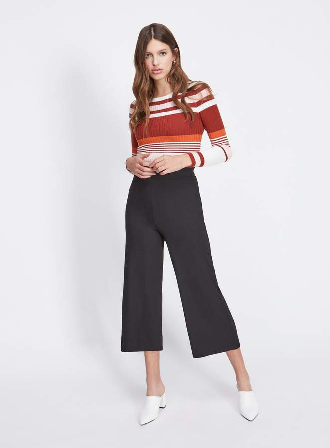 Miss Selfridge Ribbed Crop Wide Leg Trousers