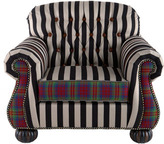 Mackenzie Childs MacKenzie-Childs Courtly Campaign Club Chair and Ottoman