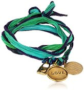"""Alisa Michelle Short and Sweet"""" Hand Dyed Silk Sterling Silver Plated Love Charm Wrap Bracelet"""