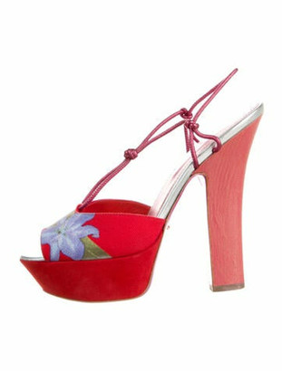Sergio Rossi Floral Print Slingback Sandals Red