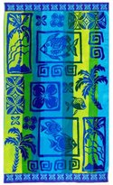 Ringspun Cotton Craft - Oversized Jacquard Double Woven Velour Beach Towel 39x68 - Island Blue Yellow - Thick Plush Luxurious Velour Pile - 450 grams per square meter 100% Pure Cotton - Brilliant intense vibrant colors - Highly absorbent easy care machine wash - Use for picnic poolside or as a colorful bath towel