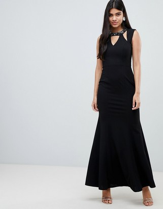 Little Mistress maxi dress with embellished cut out neckline and scoop back-Black