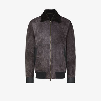 Ajmone Lacon suede and shearling bomber jacket