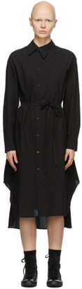 Regulation Yohji Yamamoto Black Asymmetric Collar Dress