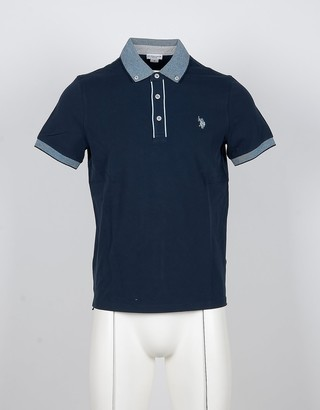 U.S. Polo Assn. Blue Cotton Button-Down Men's Polo Shirt