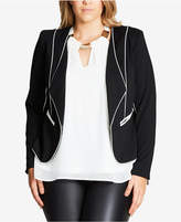 City Chic Trendy Plus Size Piped Open-Front Blazer