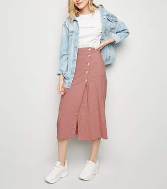 New Look Grid Check Midi Skirt