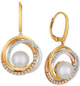 LeVian Le Vian Cultured Freshwater Pearl (9mm) & Diamond (3/8 ct. t.w.) Drop Earrings in 14k Gold, White Gold & Rose Gold