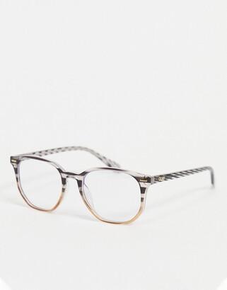 Quay CTRL womens round blue light glasses in stripy tort