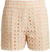 Chloé Embroidered eyelet cotton-blend shorts