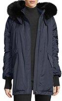 Derek Lam 10 Crosby Satin Ruched-Sleeves Anorak Jacket w/ Fox Fur