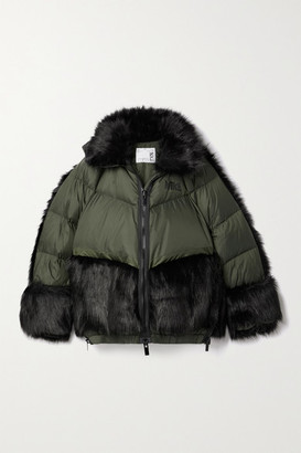 Nike + Sacai Nrg Oversized Hooded Faux Fur And Quilted Shell Down Jacket - Army green