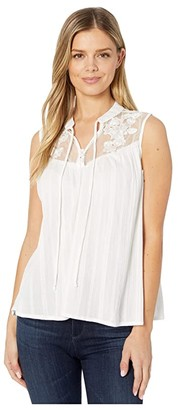 Rock and Roll Cowgirl Sleeveless Blouse B5-4500 (White) Women's Clothing