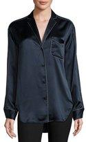Rag & Bone Hahn Pickstitch Silk Satin Pajama Shirt, Navy/White