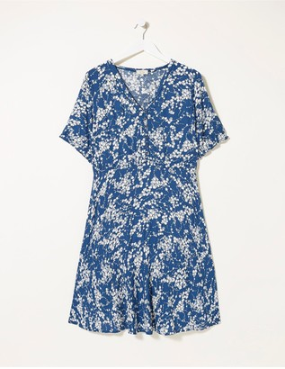 Fat Face Innes Windswept Leaves Dress - Indigo