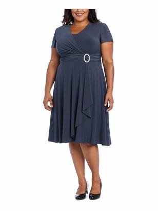 R & M Richards R&M Richards Womens Gray Short Sleeve V Neck Midi Sheath Dress Plus US Size: 14W