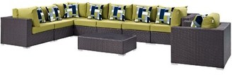 Brentwood 3 Piece Rattan Sectional Seating Group with Cushions Sol 72 Outdoor Fabric: Peridot