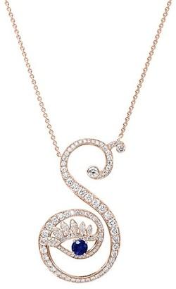 Tabayer Eye 18K Rose Gold, Sapphire Diamond Strong Pendant Necklace