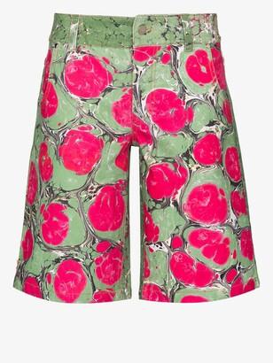 Chopova Lowena Green Marble Print Cotton Shorts