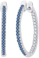 """KATARINA and White Diamond """"In and Out"""" Hoop Earrings in Sterling Silver ( 1/3 cttw)"""