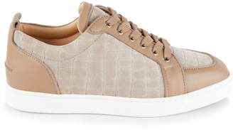 Christian Louboutin Rantulow Leather & Croc-Embossed Suede Sneakers