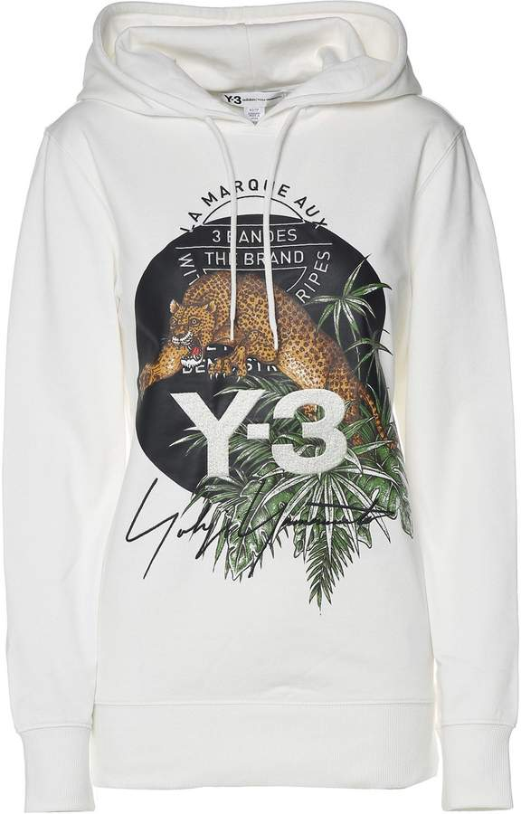 Y-3 Leopard-print Cotton-jersey Hooded