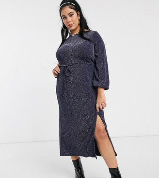New Look Plus Curve long sleeve tie front midi dress in navy