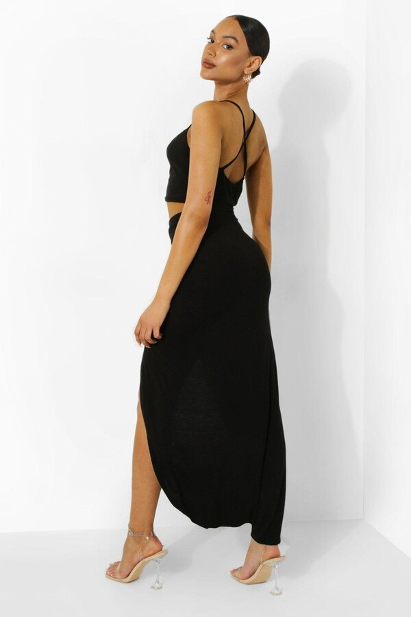 Thumbnail for your product : boohoo Ruched Side Jersey Maxi Skirt