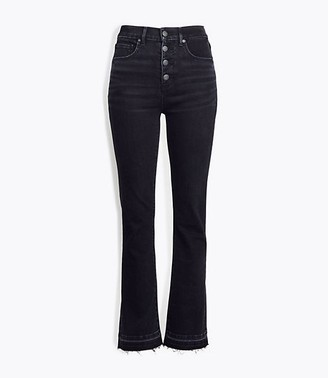 LOFT Petite High Rise Flare Crop Jeans in Washed Black Wash