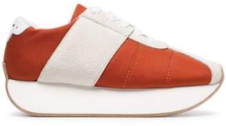 Marni orange and white 40 suede panel flatform sneakers