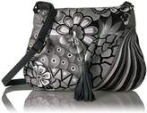 Anuschka Anna Handpainted Leather Flap Hobo,Patchwork Pewter