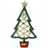 Butler & Wilson Butler and Wilson Cut Out Crystal Christmas Tree Brooch Emerald Green