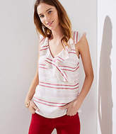 LOFT Petite Striped Ruffle Wrap Shell