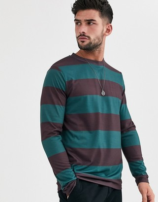 Asos Design DESIGN long sleeve wide stripe t-shirt in burgundy and green-Multi