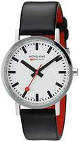 Mondaine Men's Quartz Watch with White Dial Analogue Display and Black Leather Strap A660.30314.11SBB